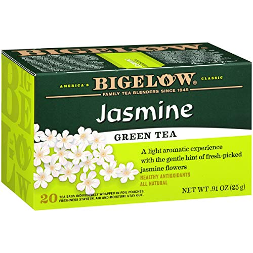 Bigelow Green Tea with Jasmine Tea Bags, 20 Count Box (Pack of 6) Caffeinated Green Tea, 120 Tea Bags Total