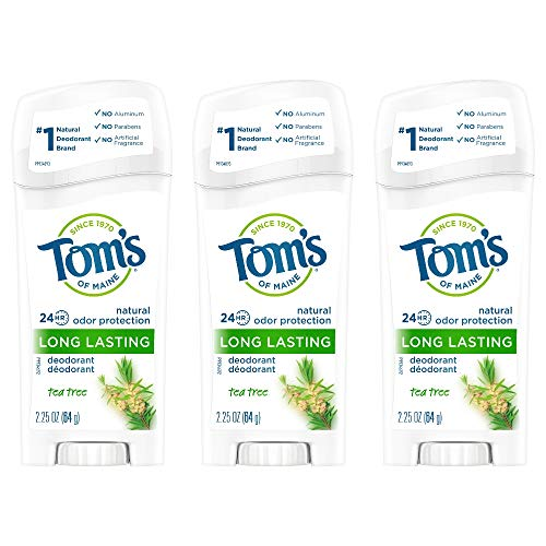 Personal Oral Care | Tom's of Maine Natural Long Lasting Deodorant Multi Pack, Aluminum Free Deodorant, Natural Deodorant, Tea Tree, 2.25 Ounce, Pack of 3, Gym exercise ab workouts - shap2.com