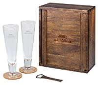 NFL Picnic Time Pilsner glass gift set for two in beautiful acacia wood presentation box with sliding door, dovetail joinery and team logo Features two tall 12-ounce conical shaped beer glasses suited perfectly for pale lager or pilsner Comes with a ...