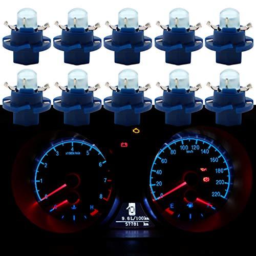 Qasim 10x Lampadine LED T5 B8.4D COB 1SMD Blu per auto Luce Cruscotto Strumento Tachimetro Pannello DC 12V