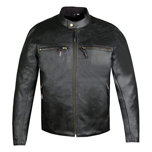 Men's Infinity Airflow Perforated Leather Motorcycle CE Armor Biker Jacket L