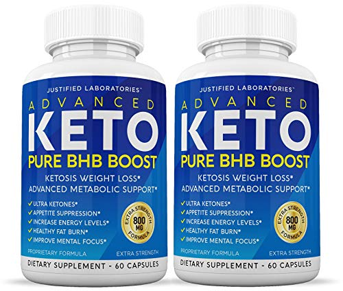Advanced Keto Pure BHB Boost Pills Enhanced Ketogenic Supplement Real Exogenous Ketones Ketosis for Men Women 60 Capsules 2 Bottles 1