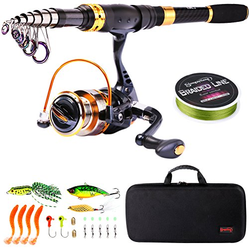 Sougayilang Telescopic Fishing Rod Reel Combos Portable Fishing Pole with Spinning Reel Fishing...
