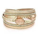 Leather Wrap Bracelet Boho Cuff Bracelets Crystal Bead Bracelet with Magnetic Clasp for Women Handmade Layered Bracelet for Women Teens(14.7', Gold)