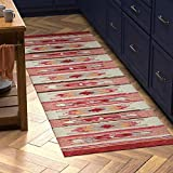 Amazon Brand – Stone & Beam Casual Geometric Kilim Cotton Runner Rug, 2' 6' x 8', Flatweave, Red, Orange, Ivory
