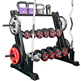 3 Tier Metal Steel Multifunction Dumbbell Rack, Kettlebells, Weight Plates,Olympic Barbells Storage Rack, 1100 Lbs Capacity, Home Workout Gym Organizer Storage Stand Exercise Training Equipment Gifts