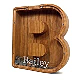 Personalized Letter Piggy Bank, Wooden Piggy Bank, Custom Your Text Engraved Money Box Wooden Piggy Bank Gift for Kids, Adult, Christmas Birthday Gift Home Decoration