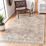 Safavieh Natural Kilim Collection NKM316B Handmade Moroccan Boho Tribal Wool & Viscose Area Rug, 6' x 9', Natural / Ivory