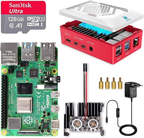 LABISTS Raspberry Pi 4 8GB Kit Incluido Tarjeta SD 128GB Precargada con Raspberry Pi OS, 2 Ventiladores, Disipador de Calor Grande, 2 Micro HDMI, Caja y Lector de Tarjetas