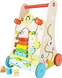 Small Foot 10606 Chariot de Marche Champs de Fleurs, en Bois, Propose Un Divertissement varié pour Enfants à partir de 2 Ans