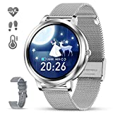 GOKOO Smart Watch for Women Bluetooth Fitness Tracker with Heart Rate Sleep Blood Pressure Monitor Calories Pedometer Sports Activity Tracker Smartwatchs Waterproof 1.09' Full Touch (Silver)