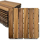 Mammoth Sustainably Sourced Solid Teak Secure Interlocking Deck Tiles, Stain Free and Sealed Water Resistant Outdoor Patio Pavers or Composite Deck Flooring, Pack of 11 (11 SQFT) (Stripe)
