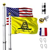 Klvied 30FT Telescopic Flag Pole, Heavy Duty Aluminum Flagpole Kit Fly 2 Flags, Outdoor Extra Thick Flag Pole with 3x5 America Flag, Golden Ball Top for Commercial, Residential, Outdoor Use