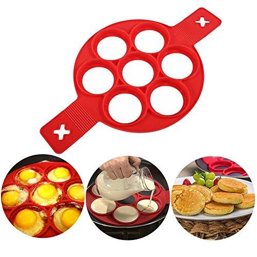 Stampi per pancake in silicone per cuocere uova, pancake flipper uovo anello antiaderente (rosso 7 fori)