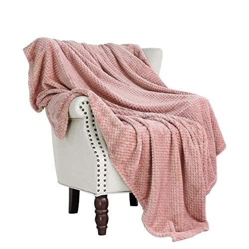 Exclusivo Mezcla Waffle Flannel Fleece Velvet Plush Large Throw Blanket – 50' x 70' (Pink)