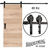 INDUSTRIAL BY DESIGN – 6ft 7in Single Sliding Barn Door Hardware Kit – Ultra Quiet, Designers Choice, All Parts Included, Easy Installation with DIY Video Instructions