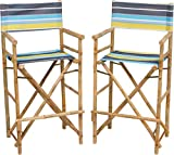 Zero Emission World Bamboo Barstool-Natural Color Canvas Bar Height Folding Chairs Counter Stool Outdoor Indoor Tall Camping Set of 2, 22.8x18.9x47.2, Striped Green