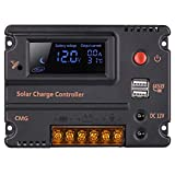 GHB 20A 12V 24V Solar Charge Controller Auto Switch LCD Intelligent Panel Battery Regulator Charge...