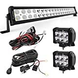 YITAMOTOR LED Light Bar 24 inches 120W Light Bar Combo & 2pc 18W Spot Pod Lights & Wiring Harnesses Compatible for Jeep, Pickup, Off Road, Truck, 4X4, ATV, Boat, Motorcycle, Trailer, IP68 Waterproof