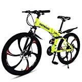 Outroad Mountain Bike 6 Spoke 21 Speed Double Disc Brake Suspension Fork Rear Suspension Anti-Slip Folding Bike (Yellow,26 in)