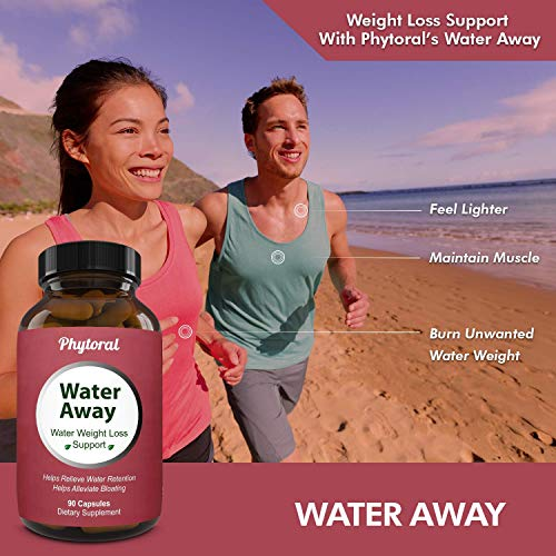 Water Away Diuretic Pills - Natural Water Weight Loss Support for Men and Women Fast Acting Bloating Swelling Relief Supplement - Pure Vitamin B6 Dandelion Green Tea Extract 90 Capsules by Phytoral 5
