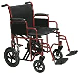 Drive Medical Bariatric Heavy Duty Transport Wheelchair | Swing-Away Footrest with 22-Inch seat | Red