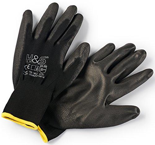 12 paia di guanti da lavoro ISC H & S, nylon, rivestimento in PU; S small (7), M medium (8), L large...