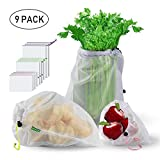 Reusable Produce Bags, STANBOW ECO-Friendly Washable Double-Stitched Strength with Tare Weight on Tags Mesh Bags Through Large Medium Small for Grocery Shopping Storage Set of 9
