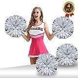Pack of 4 Cheerleading Pom Poms Foil Plastic Metallic Cheerleader Pom Poms for Cheer Sport Kids Adults Team Spirit Cheering (Silver-1)