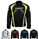 Motorcycle Jacket Men's Riding HWK Textile Racing Motorbike Hi-Vis Biker CE Armored Waterproof Jackets (Hi-Vis Green, XL)