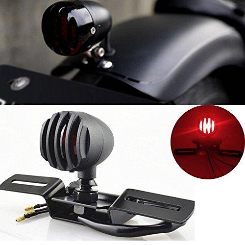 katur 1pcs 12V 10W motocicleta luz trasera Stop licencias freno lámpara para Chopper, Cafe Racer de corcho carcasa de acero bala motos luz para harley