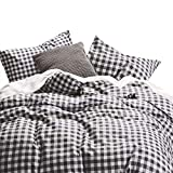 Wake In Cloud - Checker Comforter Set, Gray Grey Buffalo Check Plaid Geometric Modern Pattern Printed, 100% Cotton Fabric with Soft Microfiber Inner Fill Bedding (3pcs, Queen Size)