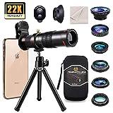 11 en 1 Kit objectif pour téléphone portable, téléobjectif 22X, objectif grand angle, objectif macro, objectif Fisheye, 3 filtres, trépied, déclencheur à distance pour iPhone Samsung Smartphone