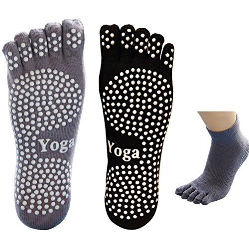 EQLEF 5 Dita Calzini Yoga Uomo Calzini Antiscivolo Grip Calzini Neri e Grigi in Cotone per...