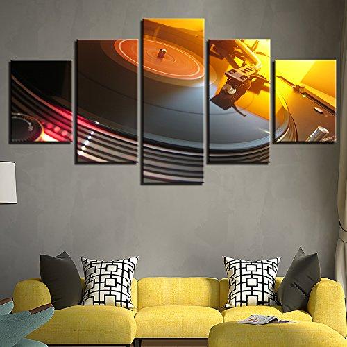 WJDJT Quadri Moderni 5 Pezzi Stampa Giradischi per Console Music Dj Immagini per Pareti Immagini Pittura Decorazione per della Camera da Letto del Salone Murale 200X100Cm