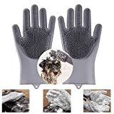 Lenlorry Magic Pet Grooming Gloves Dog Bathing Massaging Shampoo Gloves with High Density Teeth, Heat Resistant Non-Toxic Silicone Anti-Scratch Grooming Hair Removal Gloves for Pet Dog Cat Rabbit