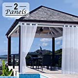 Rose Home Fashion Outdoor Curtains, 2 Panels Sheer Outdoor Curtains for Patio&Patio Curtains, Outdoor Curtains for Patio, Sheer Porch Curtains-Sheer Outdoor Curtain, 52x108