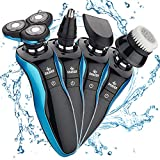 Electric Shaver for Men, 4D Rechargeable IPX7 Waterproof 4 in 1 Men's Rotary Shavers Wet and Dry Electric Shaving Razors for Husband, Father and Son Gift