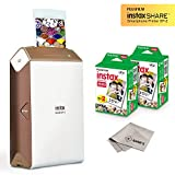 Fujifilm Instax Share Smartphone Printer SP2 (Gold) + Fuji Instax Mini Twin Pack Instant Film (40 Sheets) + Microfiber Cleaning Cloth - Super Value Instant Printer Bundle