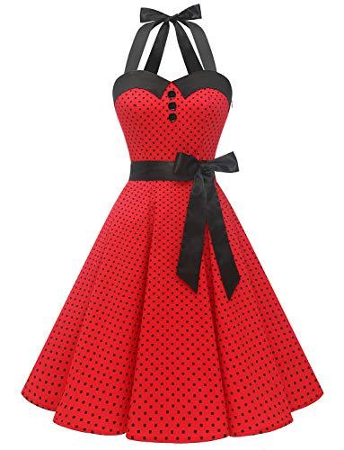 Dressystar Vestidos Corto Cuello Halter Estampado Flores y Lunares Vintage Retro Fiesta 50s 60s Rockabilly Mujer Rojo B M