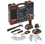 Black + Decker BDCHD18BOHA-QW Bohrmaschine/Schlagschrauber mit Doppelbatterie 18V Lithium-Ionen-Akku, 1.5Ah, Zubehör und Werkzeuge, Orange/Schwarz