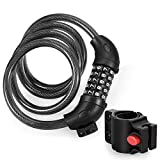 Flexzion Bike Lock Cable, 5 Digit High Security Combination Bicycle Lock/w Seat Mounting Bracket, 4 feet x 1/2' Dia Lightweight Braided Steel, Resettable/f Kids Mountain Electric BMX Road (Black)