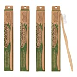 Brush with Bamboo Toothbrush with Plant-Based Bristles - 4 Pack