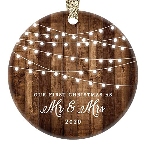 First Christmas as Mr & Mrs Ornament 2020 Rustic 1st Year Married Newlyweds 3' Flat Circle Porcelain Ceramic Ornament w Glossy Glaze, Gold Ribbon & Free Gift Box   OR00300 Delfino