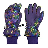 N'Ice Caps Girls Ombre Shaded Waterproof Thinsulate Winter Snow Ski Gloves (Purple Multi Laser, 11-13 Years)