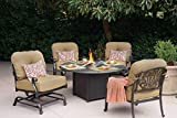 Darlee Elisabeth Cast Aluminum 5 Piece Propane Fire Pit Set 52'' Round Chat Table, Antique Bronze