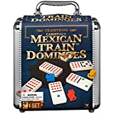 Mexican Train Dominoes Game in Aluminum Carry Case, for Families and Kids Ages 8 and up
