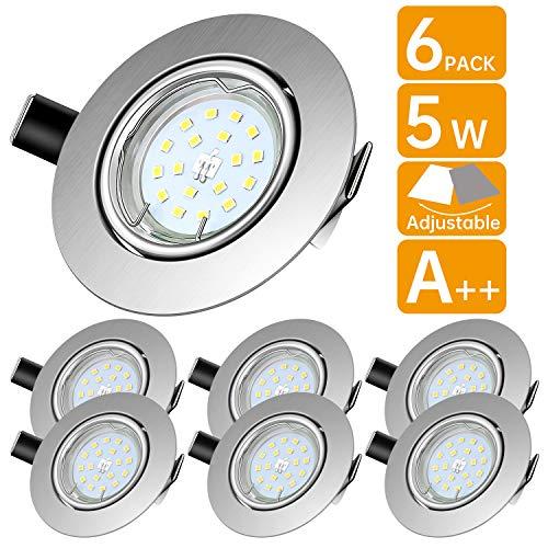 Lengjoy Faretti LED da Incasso per cartongesso,Orientabile con Porti Luce Bianca Fredda 5 W Pari a...