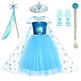 Party Chili Princess Costumes Birthday Dress Up for Little Girls with Crown,Mace,Gloves Accessories 4-5 Years(120cm)