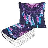 Well Traveled Native American Indian Talisman Travel Pillow Blanket Combo 50 × 60.23inch Manta de viaje combinada 2 en 1 cálida y suave para acampar en avión, viajes en automóvil Manta de viaje para
